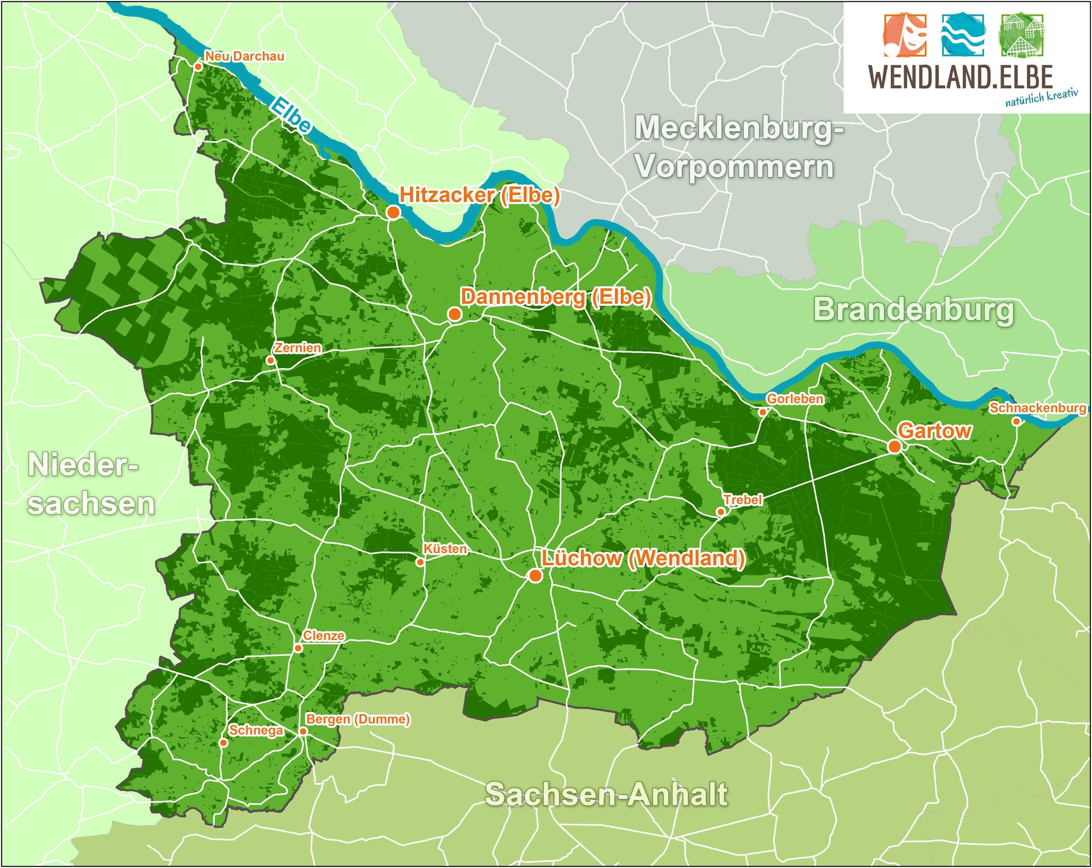 Übersichtskarte der Region Wendland.Elbe ©Marketingbüro Wendland.Elbe